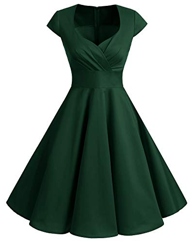 Damen Grün M&m Kostüm - bbonlinedress 1950er Vintage Retro Cocktailkleid Rockabilly V-Ausschnitt Faltenrock Dark Green M