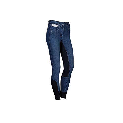 netproshop Damen Jeans-Reithose mit Silbernen Akzenten und Vollbesatz aus Kunstleder Velours, Groesse Damen:42, Farbe:Dunkelblau -