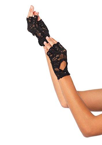 Leg Avenue 2724 - Fingerlose Spitzen-Handschuhe, Einheitsgröße, schwarz (Handschuhe Fingerlose Stil)