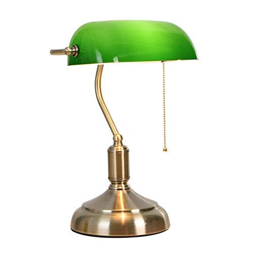 CUICAN Retro Banqueros Lámpara Escritorio, E27 Verde Esmeralda ...