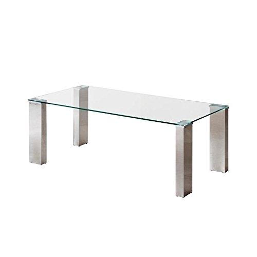 Mesa de centro KARINA con tapa de cristal templado y patas de ACERO