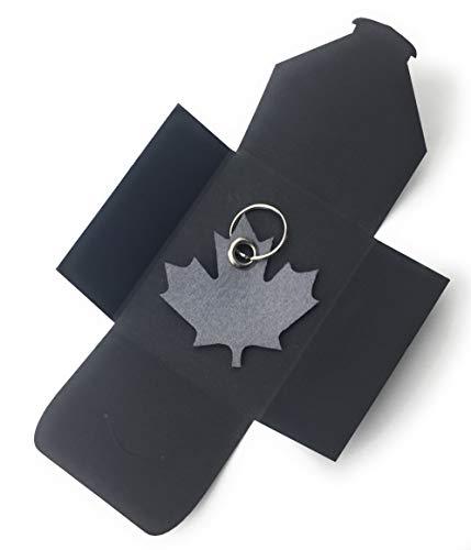 filzschneider Schlüsselanhänger aus Filz - Ahornblatt - Kanada - grau/hell-grau - als besonderes Geschenk mit Öse und Schlüsselring - Made-in-Germany