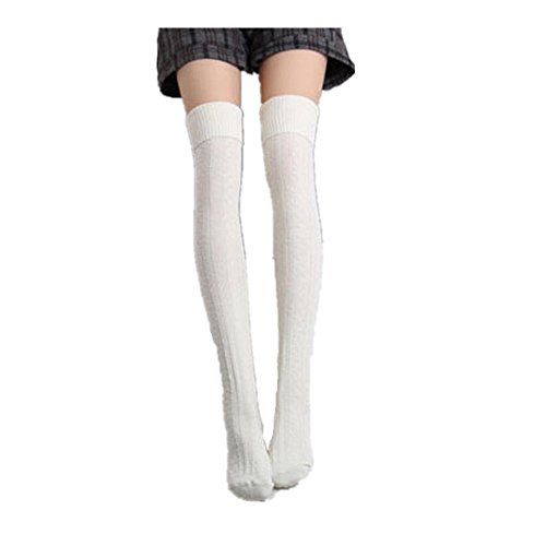 Calze Familizo Le donne Ragazza di inverno sopra il ginocchio scaldino del piedino morbido Knit Crochet calzino Legging (Bianco)