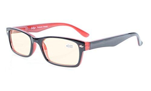 Eyekepper Spring Scharniere UV-Schutz, Anti-Blendung Anti Blue Rays, kratzfestes Objektiv Computer Lesebrille Leser (gelbe getönte Objektive, schwarz-rot) +1.75