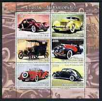 Talbots Mint (Benin 2003 Classic Automobiles perf sheetlet 6 values u/m CARS TALBOT CORD FORD MERCEDES LINCOLN JANDRSTAMPS)