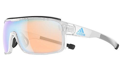 Adidas - ZONYK PRO S AD02, Sportbrille, Acetat, Herrenbrillen, SHINY CRYSTAL/LST BRIGHT BLUE MIRROR(6052 BU)
