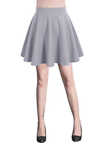 bridesmay Damen Mini Rock Basic Solid Vielseitige Dehnbaren informell Minikleid Retro Sexy Rock Faltenrock Grey S