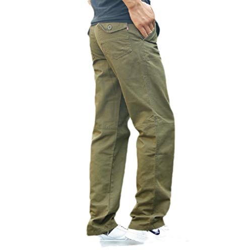 CuteRose Mens Straight Airsoft Pants Solid High Waist Big and Tall Casual Pant Army Green 32 Relaxed Fit Pleated Chino-hose