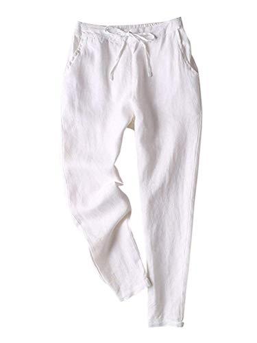 ORANDESIGNE Jogging Pant mit breitem Bündchen und Tunnelzug Weiß XL - Gestreifte Leinen-pants