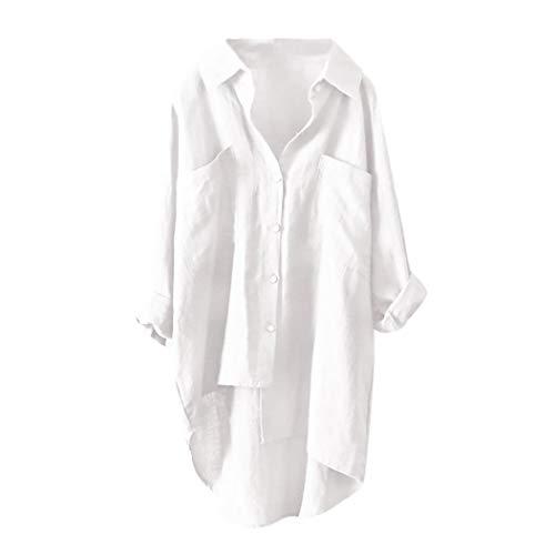Damen Bluse Xiantime Damen T Shirt Lang Ärmel Schulterfrei Lose Lässige Asymmetrische Sweatshirt V Ausschnitt Tops Bluse Oberteil mit Knopf S-3XL