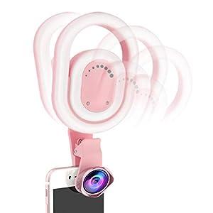 Dkings Pro Lens Kit für Phone und Weitwinkelobjektiv mit LED-Licht, Telefon Weitwinkel Externe Kamera Makeup Fill Light 52 LEDs Selfie Ringlicht-Kit, Für Vlogging,Reisen,Selfie