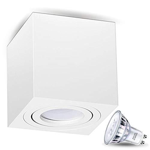 JVS Aufbauleuchte Aufbaustrahler Deckenleuchte Aufputz LED DIMMBAR 5W Warm-weiß Milano GU10 Fassung 230V Eckig Weiss schwenkbar Deckenleuchte Strahler Deckenlampe Aufbau-lampe Downlight aus Aluminium