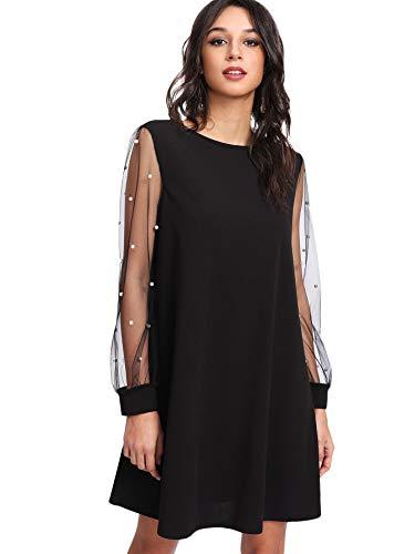 DIDK Damen Minikleider Netz-Ärmeln Lose Elegant Kleid mit Perlen Einfarbig Langarm Kleider U-Boot Ausschnitt Schwarz L