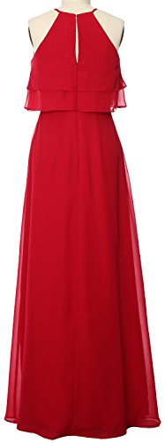 MACloth Elegant Long Bridesmaid Dress Tiered Chiffon Wedding Party Formal Gown Burgunderrot