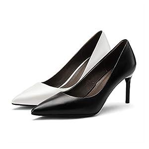 HAOYUSHANGMAO Schuhe mit hohen Absätzen, Stiletto, Frühling und Herbst Fashion Point-Toe Schuhe, Arbeitsschuhe, Damenschuhe, Weiß, Schwarz