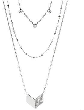 Fossil JF02434 Damen Collier Edelstahl Silber weiß Glas 71 cm