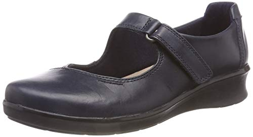 Clarks Hope Henley, Mocasines Mujer, Azul Navy Leather