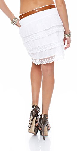 ZARMEXX Damen Volant-Rock mit Gürtel Sommerrock Minirock Spitze gerüscht One Size Weiß