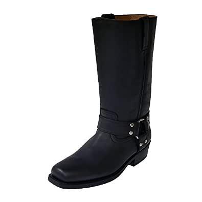 Dunkelbraun Echtleder Herren Boots Bikerboots Motorradboots Stiefel Schuhe