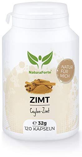 NaturaForte Zimt Kapseln 120 Stück, Hochdosiert Ceylon-Zimt 540 mg pro Tag, Vegan, Zimt Pulver schonend gemahlen aus Sri Lanka, Unterstützt Appetit, Verdauung, Magen-Darm, Hergestellt in Deutschland