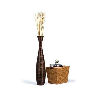 Leewadee Tall Big Floor Standing Vase For Home Decor 112 cm, Mango Wood, brown