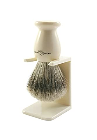 Edwin Jagger Best Badger Shaving Brush with Drip Stand - Large, Imitation Ivory