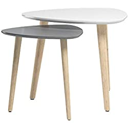 Lot de 2 Tables Basses Rétro Triangle Table d'appoint Tables Gigognes Scandinaves Table d'appoint Moderne multifonctionnelle pour Bureau, Cuisine, Salon (Blanc+Gris)