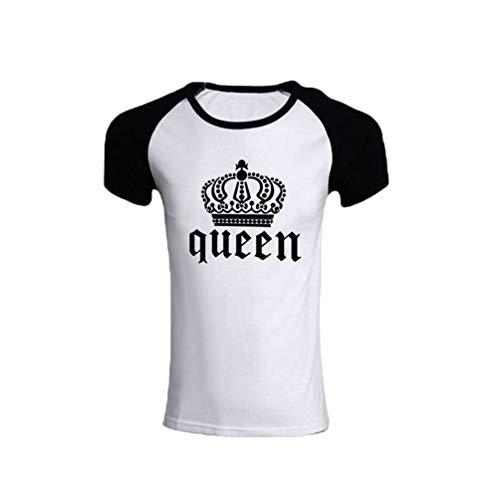 Haobing King Queen T-Shirt für Paar Partnerlook Pärchen Shirts Partner T Shirt Fun-T-Shirts (Queen #2, CN 3XL) (Bonnie Und Clyde Kostüm Für Paare)