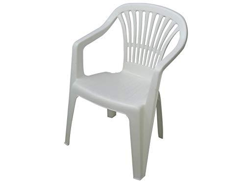 Progarden azard - sedia bianca plastica impilabile giardino garden bar interno esterno pizzeria
