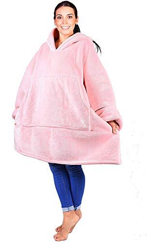 Kqpoinw Hoodie Frauen Sherpa Sweatshirt Decke, Übergröße Damen Rosa Sweatshirts Große Fleece Plüsch Ärmeln TV Decke für Männer Frauen Jungen Mädchen (Rosa) -