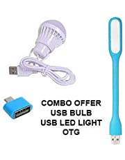 HCR ACCESSORIES Combo Offer USB Bulb 5 WATTS 6 Volts BRIGHTLIGHT, OTG Adaptor for External Device Connected with Mobile, USB LED Light Sharp and Bright Light for Emergency Light