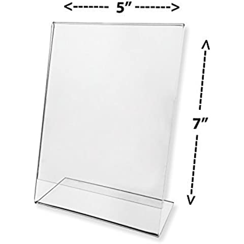 Marketing Holders Sign Holder 5x7 Clear Acrylic Slant Back Counter Top Literature Display Sold in Lots of 20 by Marketing Holders