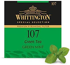 BUSTA FILTRO PIRAMIDALE MONODOSE TEA INFUSI TISANE IN FOGLIA ALTA QUALITA' WHITTINGTON ERACLEA -- 40 GUSTI -- (107- Green Mint)