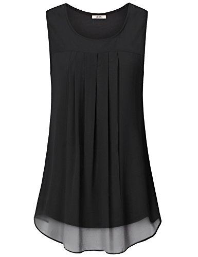 VIVILLI Damen Chiffon Bluse, Trendy Sommer Urlaub Clothes für Frauen Plus Größe Ärmellos Basic Einfarbig Flatternd Tank Tops Schwarz XXL