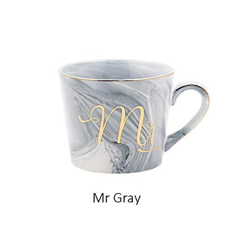 WSHP-Mug Becher Tasse Isolierbecher Handbemalte Goldmonogramm Naturmarmor