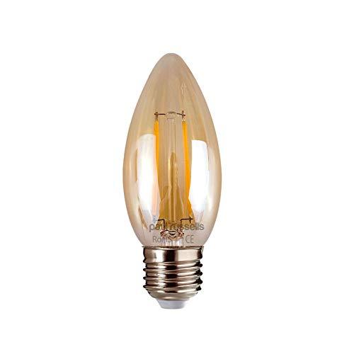 Paul Russells 2 x 2 W = 25 W Kerze LED Filament Bernstein Glühbirne E27 ES Edison-Schraube 2W Kronleuchter C35 360 Strahler 2200 K Extra Warmweiß 25 W Glühlampe -