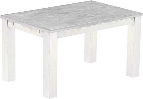 Brasilmoebel Esstisch Rio Classico 140 x 90 cm - Pinie Massivholz Farbton Beton - Weiß - in 27 Größen und 50 Farben - über 1000 Varianten -...