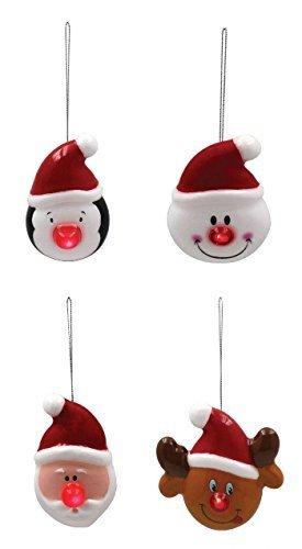 Set de 4 pingouin BONHOMME DE NEIGE SANTA Rudolph Blanc Noir Colifichet ornement de Noël Décorations