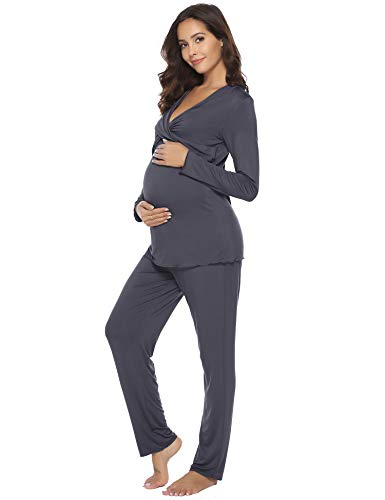 Hawiton Damen Stillpyjama Stillnachthemd Schlafanzug Lang Baumwolle Zweiteilige Nachtwäsche Hausanzug mit Stillfunktion Dunkelgrau XL