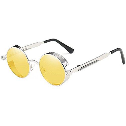 TEMPO Steampunk Sunglasses Round Retro Driving Polarized Glasses Men Woman UV Protective Metal Frame