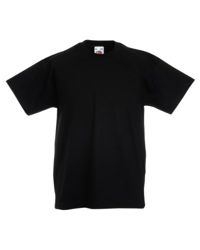 New Fruit of the Loom Childrens Kids Value Cotton T Shirt Black 7/8