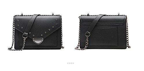 Xinmaoyuan Borse donna rivetto quadrato piccolo sacchetto di sezione trasversale quadrata da donna in pelle Tracolla Messenger Bag,Nero Nero