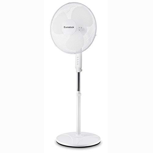 Eurostock - Standventilator 40cm | Ventilator höhenverstellbar bis 127cm | 3 verschiedene Geschwindigkeitsstufen | Oszillationsfunktion ca. 80° | schwerer Stabiler Fuß, kein umkippen