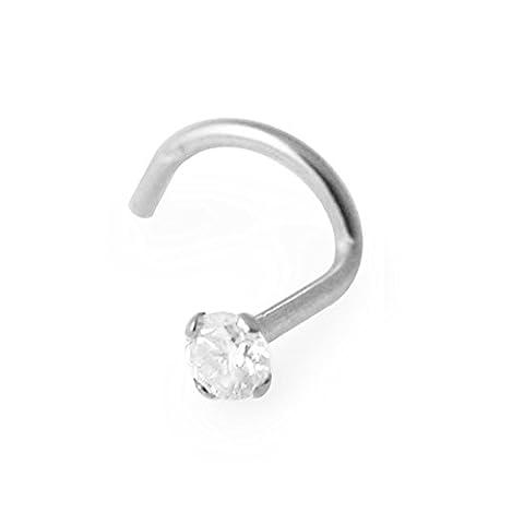 Bijou Piercing Nez à vis 2.5mm Pierre ronde sertie à griffes 20G(0.8MM) Or blanc solide 14K