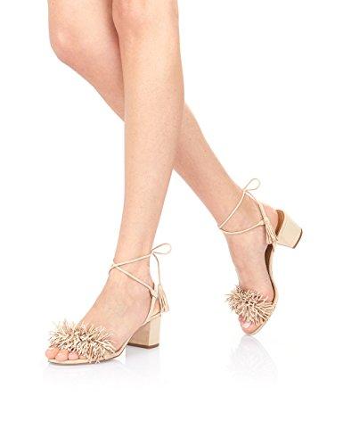 uBeauty Damen Block Absatz Heels Sandalen mit Tassel Knöchelriemchen Slingback Übergröße Schuhe Beige