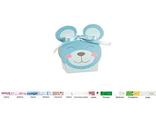 Irpot scatoline porta confetti orsetto pon pon 20 pz + bigliettini bomboniera (celeste 17047c)