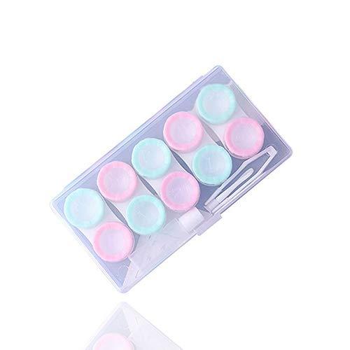 Topsaire Kontaktlinsenbehälter Weiche Linsen Hoch Reise Macarons 5 Paare Von Sätzen Von Boxen Linsenbehälter Pflegelösung Behälter Kontaktlinsen-Etui Multifunktions (eins für einen Verkauf)