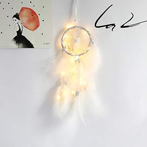 Attrapeur de rêves,Fulltime Dreamcatcher 2 Meter 20LED éclairage Fille Chambre Bell Chambre Romantique décoration Blanc
