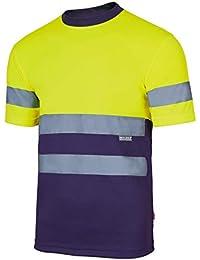Velilla Camiseta Manga Corta Bicolor de Alta Visibilidad y Cintas Reflectantes. EN ISO 13688: