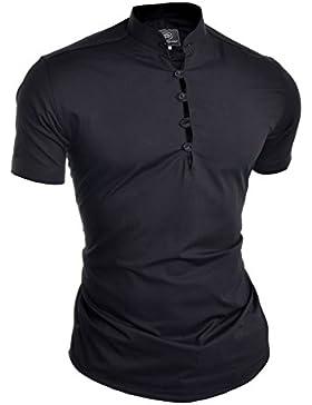D&R Fashion Camicia a Maniche Corte da Uomo Collo Nonno Casuale Inteligente Slim Fit Cotone V-Collo